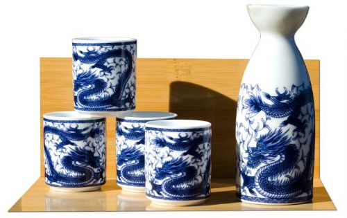 Dragon Sake set on white - Japanese 4 cups